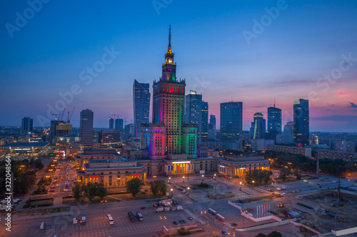 Fototapeta view of the palace of culture in the Polish capital Warsaw obraz na płótnie