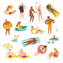 Summer People On The Beach Vec...