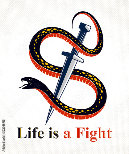 Fototapeta Dagger kills a Snake, defeated Serpent wraps around a sword vector vintage tattoo, Life is a Fight concept, life is no bed of roses, allegorical logo or emblem of ancient symbol