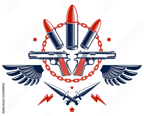 Photo Revolution and War vector emblem with bullets and guns, logo or tattoo with lots of different design elements, riot partisan warrior, criminal and anarchist style, social tension theme