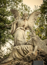 Angel Stone Statue On An Old C...