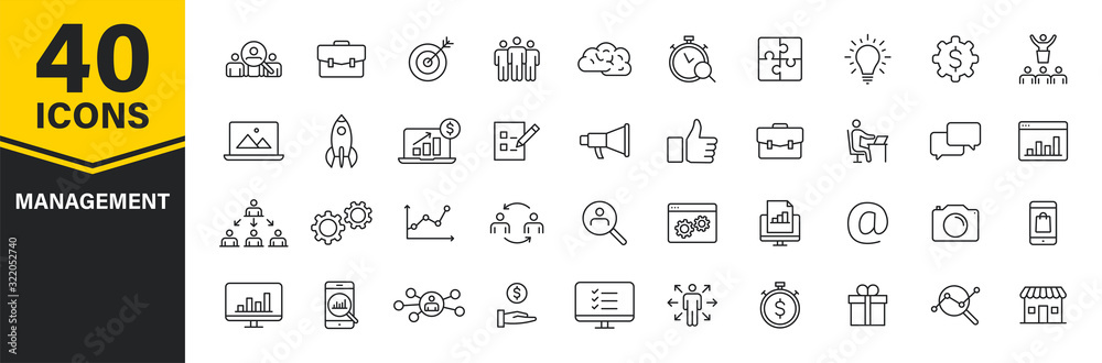 Fototapeta Set of 40 Management web icons in line style. Media, teamwork, business, planning, strategy, marketing. Vector illustration.