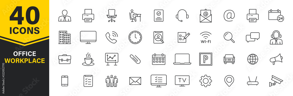 Fototapeta Set of 40 Office and workplace web icons in line style. Teamwork, workplace, coffee, work, business, employee. Vector illustration.