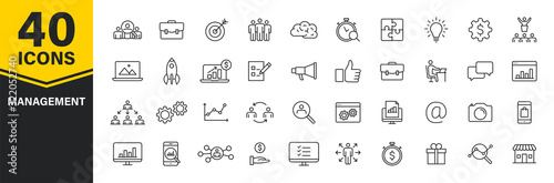 Set of 40 Management web icons in line style Canvas Print