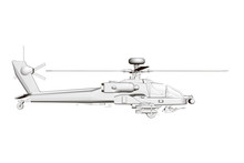Detailed Combat Helicopter. Polygonal Helicopter. Side View. 3D.