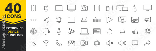 Fotomural Set of 40 Technology and Electronics and Devices web icons in line style