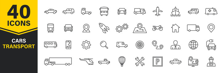 Set of 40 Cars and transport web icons in line style. Airplane, bus, parking, travel, train, comfortable. Vector illustration.