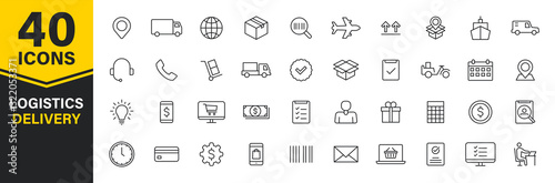 Fotografía Set of 40 Delivery and logistics web icons in line style