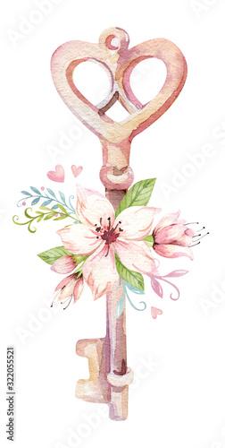 Fototapeta Cute Fairy character watercolor illustration on white background