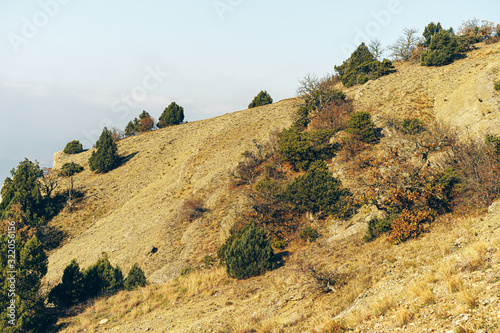 Fototapeta Photo of mountain valley stone landscape background obraz
