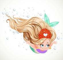 Cute Little Mermaid Girl In Co...