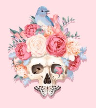 Vector Illustration With Human Skull And Flowers
