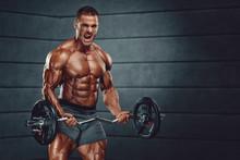 Strong Handsome Bodybuilder Li...