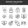 Security collection linear icons in black on a white background
