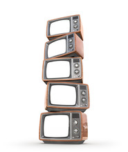 Stack Of Old TVs With White Screens. 3d Illustration