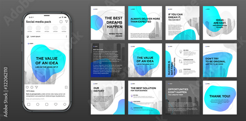 Obraz Social media post templates set with cityscape vector illustration on background. Square posts layouts for personal blog. Instagram post template. - fototapety do salonu