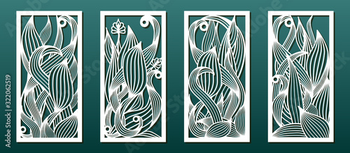 Fototapeta Laser cut templates, set of panels with floral pattern. Wood or metal cutting, panel decor, paper art, fretwork stencils. Vector illustration obraz
