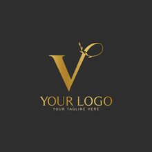 V Initial Letter Gold Logo Icon Classy Gold Letter Suitable For Boutique Restaurant Wedding Service Hotel Or Business Identity