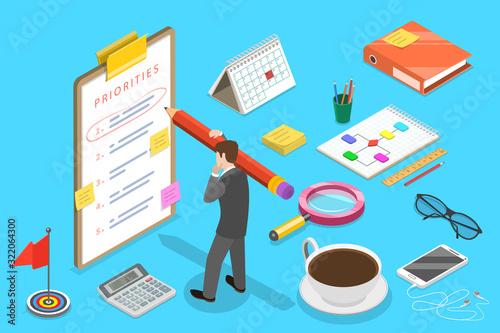 Isometric Vector Concept of Priorities List, Schedule Calendar. Wallpaper Mural