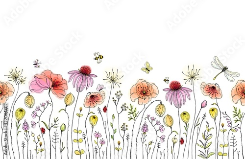 Fototapeta Seamless floral border with colorful wildflowers, poppies, butterflies, bees, dragonfly and ladybugs. Vector horizontal pattern on white background. Hand drawn illustration. obraz