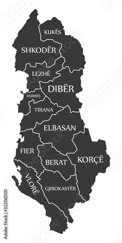 Photo Albania map with counties and labels black
