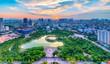 canvas print picture - Hanoi skyline cityscape at twilight period. Cau Giay park, west of Hanoi