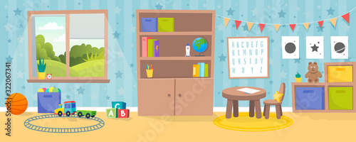 Fényképezés Kindergarten or kid room interior vector illustration