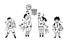 Children Playing Basketball Ve...