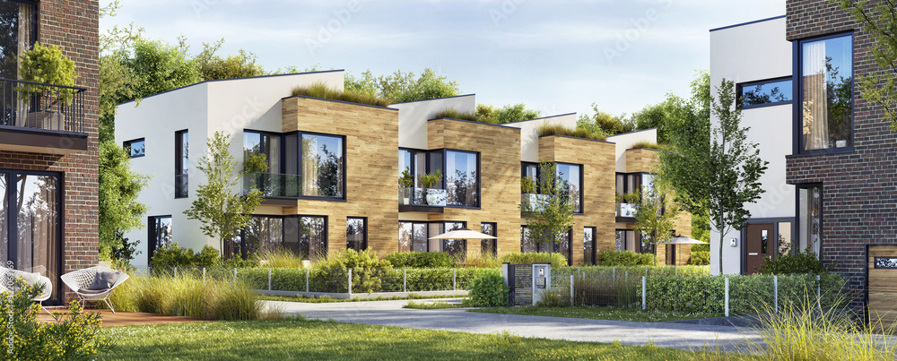 Fototapeta Beautiful modern homes. Luxury townhouses