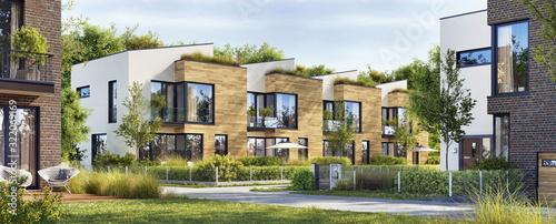 Obraz Beautiful modern homes. Luxury townhouses - fototapety do salonu