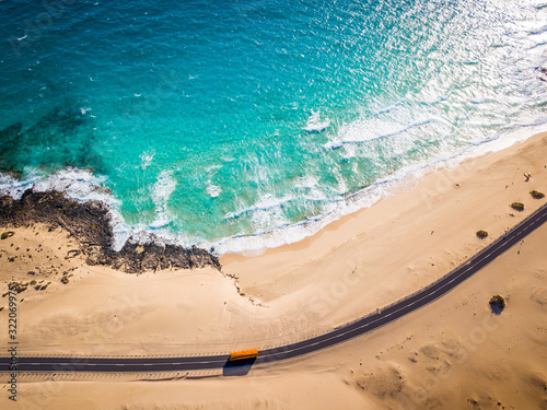 Directly above bus road and beach at Corralejo sand dunes, Fuerteventura, Canary Fototapeta