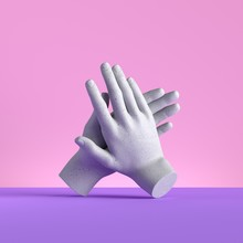 3d Render, Hands Isolated On Pink Background. Applause Gesture. Minimal Fashion Concept, Mannequin Body Parts. Limb Prosthesis
