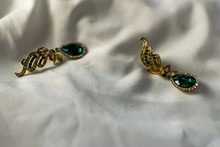 Metal Gold Earrings With Green...