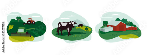 Fototapeta Set of vector icons about agriculture occupation, livestock. Illustration of tractor and combine harvester on field, farming landscape, farm animals and agricultural building, scenery of countryside. obraz