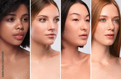 Carta da parati Diverse young ladies with different skin colors