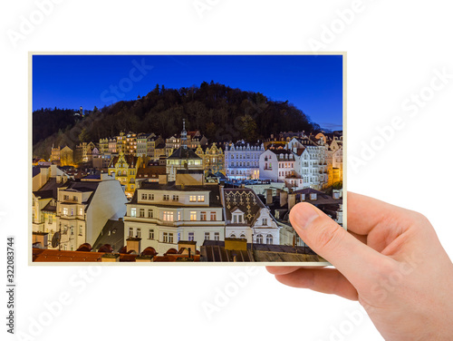 Hand and Karlovy Vary in Czech Republic (my photo) Wallpaper Mural