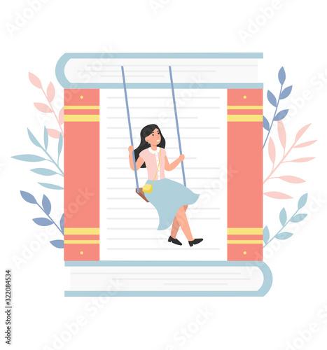 Online library, reading books Wallpaper Mural