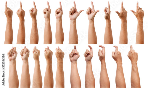 Fototapety, obrazy: Group of Male Asian hand gestures isolated over the white background. Pointing Visual Touch Action.