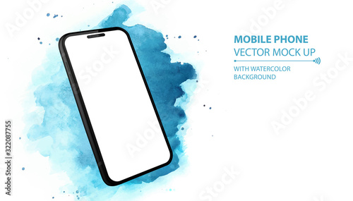 Mobile Phone Vector Mockup With Perspective View Canvas Print