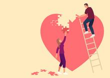 Couple Assembling Heart Symbol