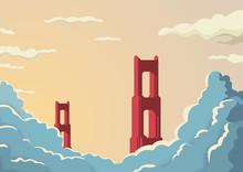 Golden Gate Bridge In San Francisco In USA Postcard Vector Template. Bridge In Sunset With Clouds Or Fog Below.