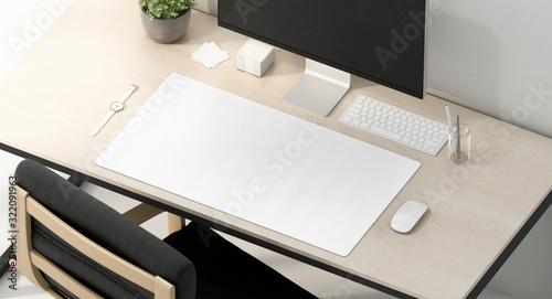 Fototapeta Blank white desk mat on work table mockup, side view