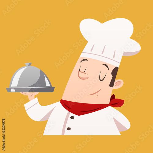 Fototapeta Cartoon chef serving food vector isolated illustration obraz