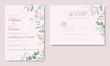 Elegant wedding invitation template with eucalyptus leaf