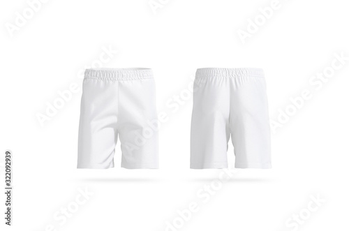 Obraz Blank white soccer shorts mockup, front and back view - fototapety do salonu