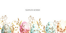 Watercolor Easter Seamless Bor...