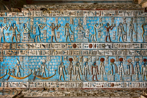 Fotografering Hieroglyphic egypt carvings on ceiling