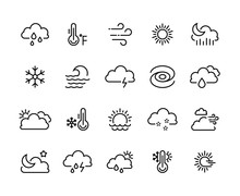 Weather Climate Line Icons. Te...