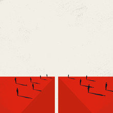 Divided Society Vector Concept With Crowds On Opposite Sides Of Abyss. Split In Opinions And Lifestyles In Community.