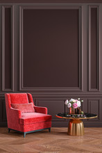 Classic Brown Chocolate, Colorful, Interior With Red, Coral Armchair, Coffee Table, Flowers And Wall Moldings. 3d Render Illustration Mockup.